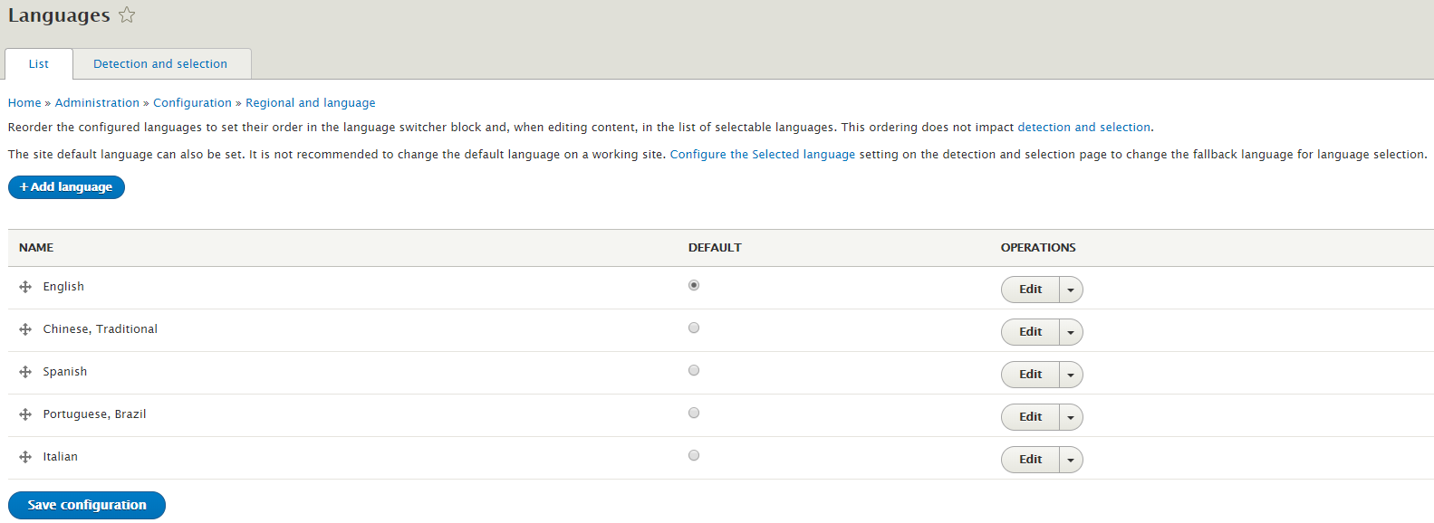 Webdrips Drupal 8 Demo Multilingual Module Language Listing Table