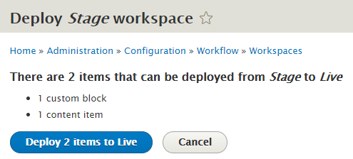 Webdrips Drupal 8 Demo site deploy stage workspace content to live confirmation