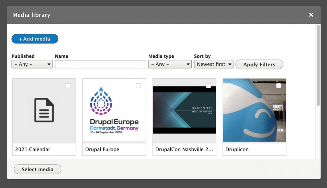 Webdrips Drupal 8 Demo: Use the Built-in Media/Media Library Drupal Modules to Manage Media Assets with Ease