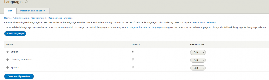 Webdrips Drupal 8 Demo Site Image Shows Multilingual Capability is now Built into Drupal 8