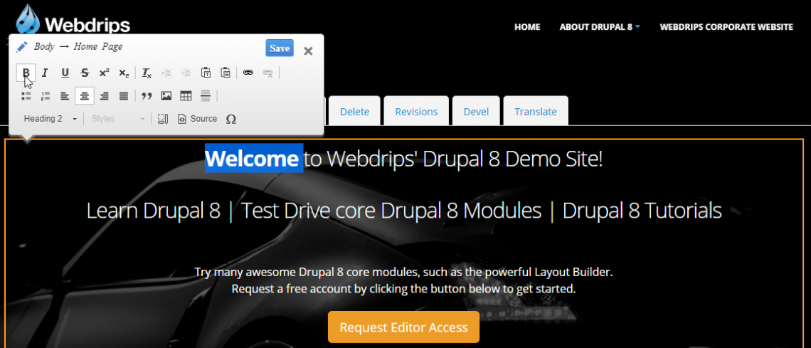 Webdrips Drupal 8 Demo Image Shows Homepage in Quick Edit Mode for a Vastly Improved Content Authoring Environment